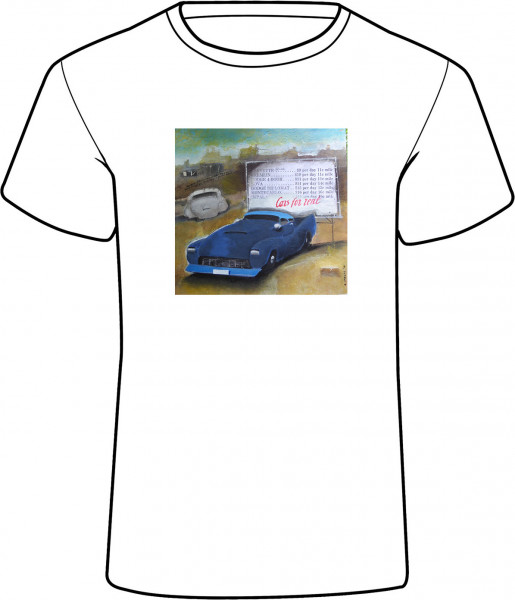 Cars for rent auf Damen T-Shirt - Cars for rent - Damen T-Shirt mit einem Namen personalisierbar - Künstlermotiv © Reiner Stolte für House of Messur